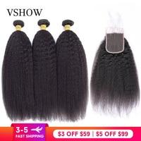 Kinky Straight Hair Bundles With Closure VSHOW 3/4 Bundles With Closure Yaki Human Hair Weaves Remy Hair Bundles With Closure