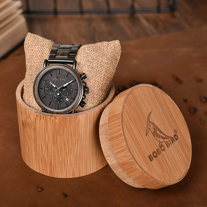 Image 5 - BOBO BIRD Wood Watch Men Stopwatch Chronograph relojes hombre Show Date Wooden Quartz Wristwatch Male Timepieces In Gift Box-in Quartz Watches from Watches