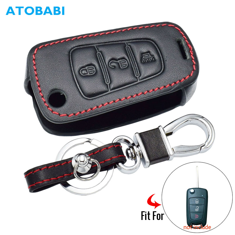 ATOBABI Genuine Leather Car Key Case For Great Wall Haval Hover H1 H3 H6 H2 H5 C50 C30 3 Buttons Folding Key Chain Remote Cover