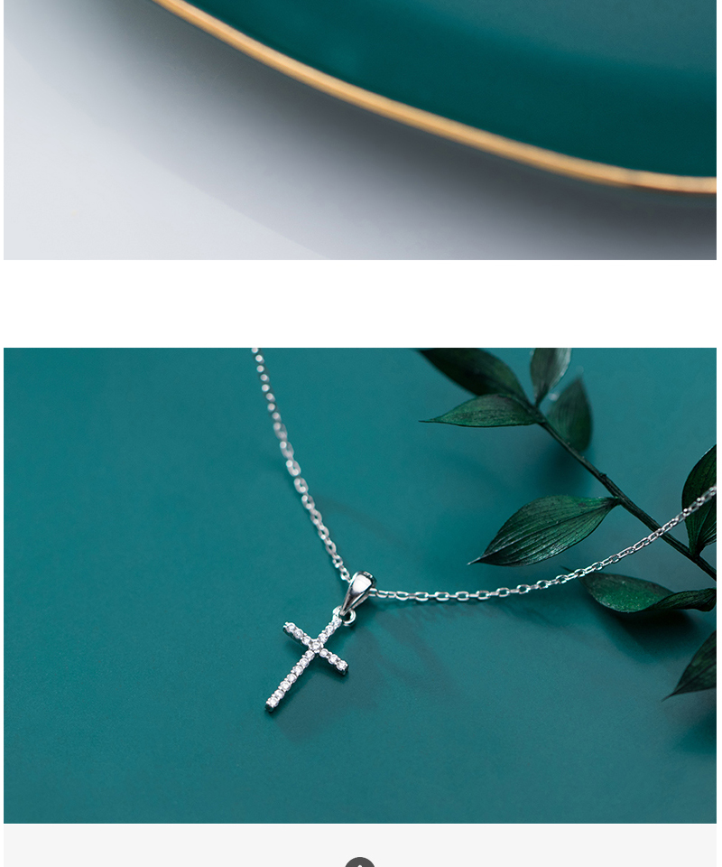 Genuine 925 Sterling Silver CZ Crystal Cross Pendant Choker Necklace For Women Girls Luxury Sterling Silver Jewelry Gift Bijoux (4)