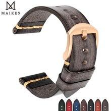 MAIKES בעבודת יד שעון להקת 20mm 21mm 22mm 23mm 24mm עור רצועת השעון לpanerai אומגה רולקס המילטון שעון רצועה