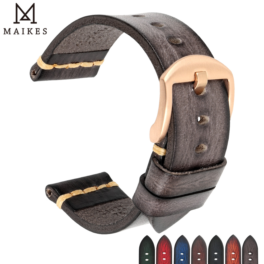MAIKES Handmade Watch Band 20mm 21mm 22mm 23mm 24mm Leather Watchband For Panerai Omega Rolex Hamilton Watch Strap