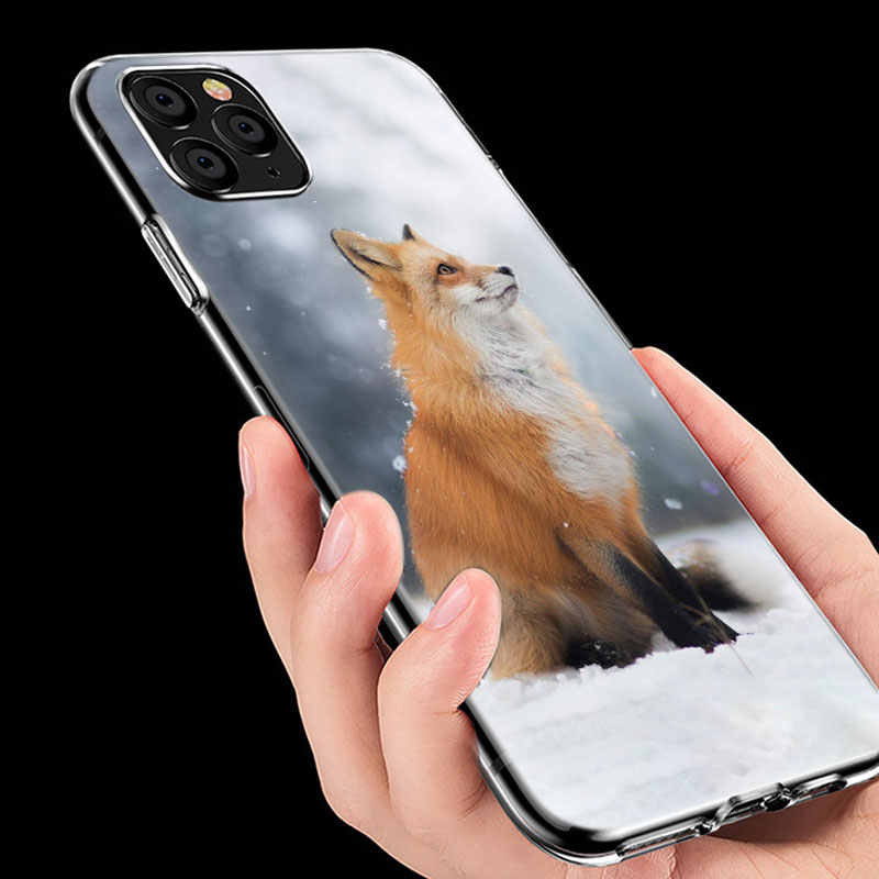 かわいい漫画動物キツネソフトシリコン透明ケース apple の iphone 11 プロ xs max x xr 6 6s 7 8 プラス 5 5s 、 se ファッションカバー