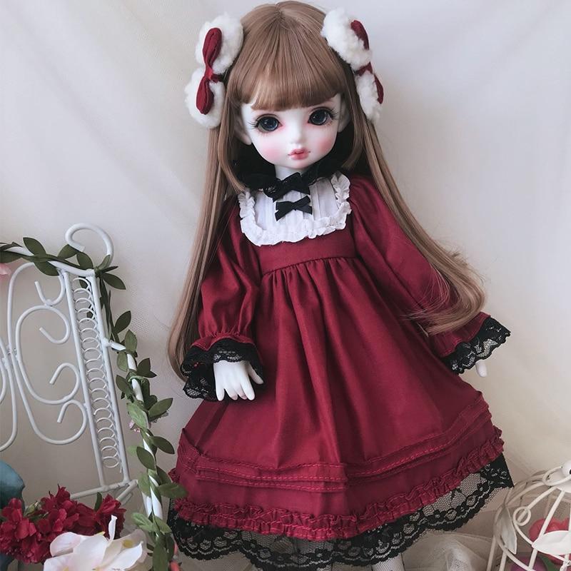 BJD Doll Clothes Red Dress Suit For 1/6 YOSD 1/4 BJD MSD Blyth Doll Accessories BJD Dress + Hair Decoration+ Socks