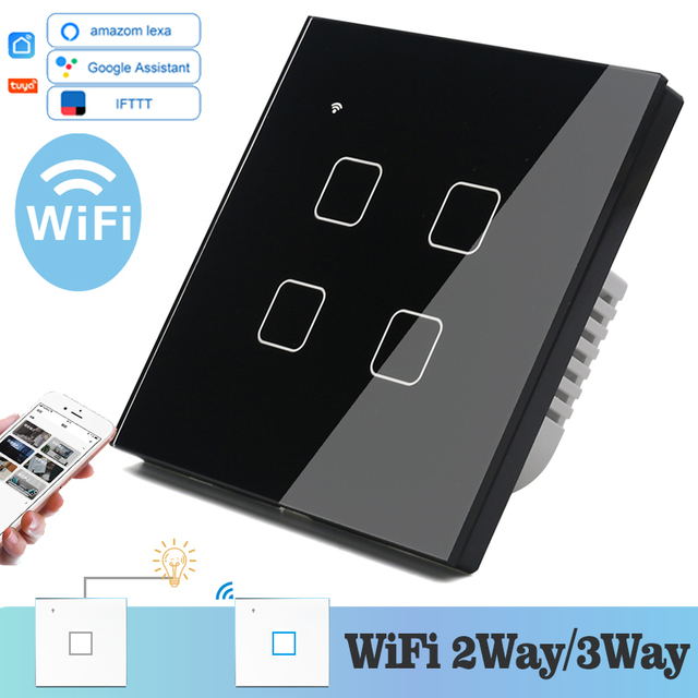 WIFI Touch Light Wall Switch Black Glass Blue LED Universal Smart Home Phone Control 4 Gang 2 Way relay Square Alexa Google Home