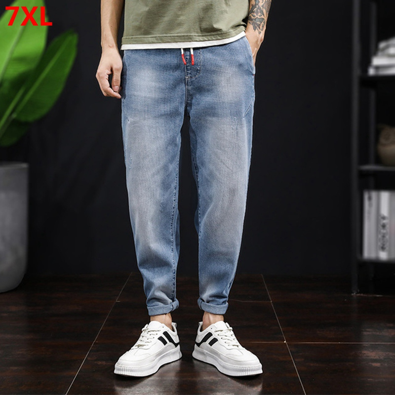 Large Size Men's Fashion Summer New Ankle-lenth Harlan Jeans Loose Elastic Waist Big Size Jeans Mens Jeans Brand 7XL 6XL