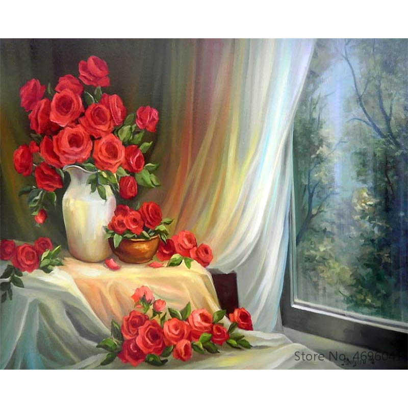 Painting By Numbers Frameworks Coloring By Numbers Home Decor Pictures Flowers Vase Decorations RSB8472