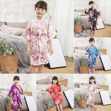 Детский халат халаты для девочек халаты с цветочным узором для девочек халат шелковый атласное кимоно; наряд банный халат для девочек одежда для сна