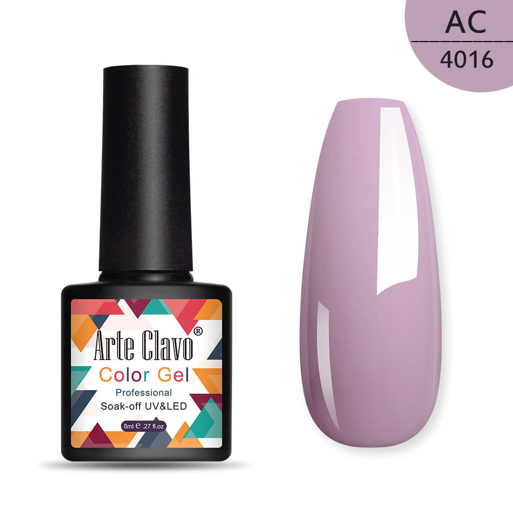 Arte Clavo Gel Vernis Shining Naakt Roze Kleur Voor Manicure Semi Permanente Hybrid Uv Gel Nagellak Pailletten Gel Lak 8 Ml