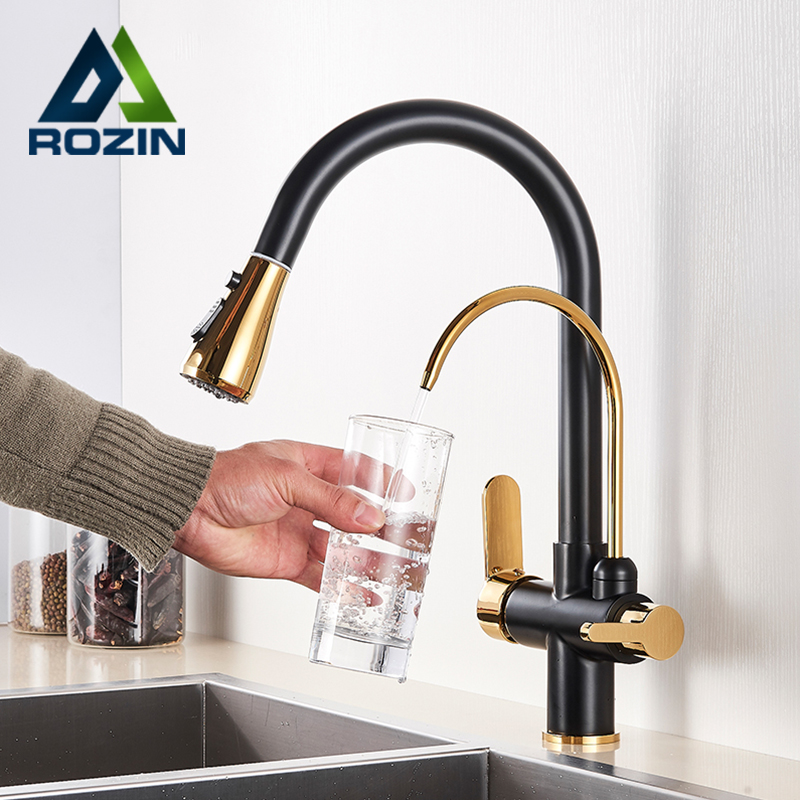 Black and Golden Filtered Crane For Kitchen Pull Out Sprayer drinking water Three Ways Water Filter Black and Golden Filtered Crane For Kitchen Pull Out Sprayer drinking water Three Ways Water Filter Tap Kitchen Faucet hot cold