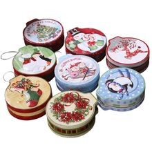 Christmas Round Candle Biscuit Cookie Storage Box Hanging Tree Tin Tea Coin Container Case Organizer