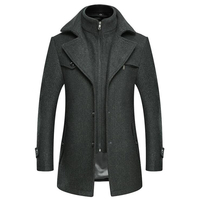 Winter Trench Coat for Men Fashion Mens Jackets Version of Woolen Men's Jacket Double Collar Warm Woolen Coat Windbreaker E