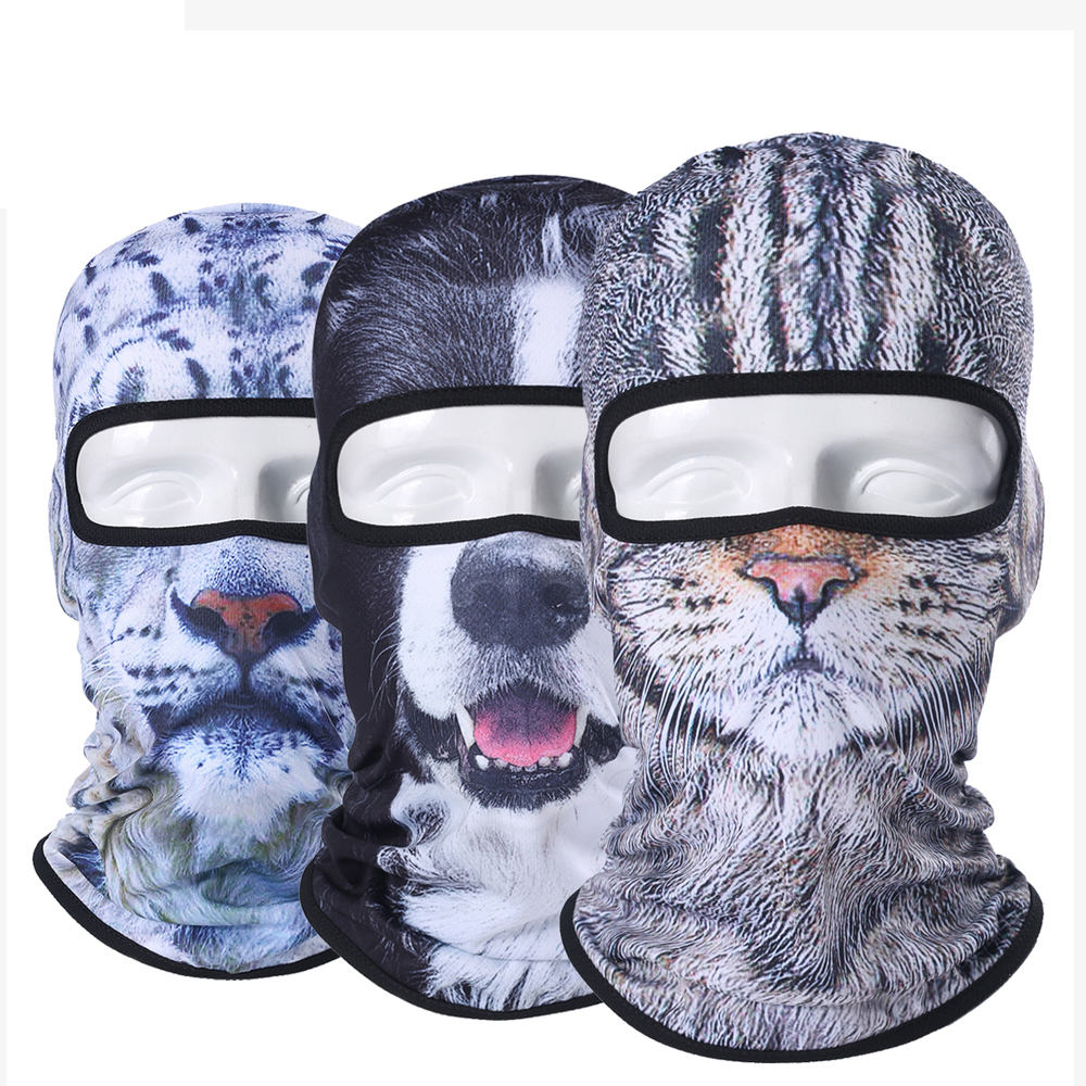 Balaclava Motorcycle Full Face 3D Animal Cat Dog Hats Helmet Windproof Breathable Airsoft Paintball Snowboard Cycling Ski Men