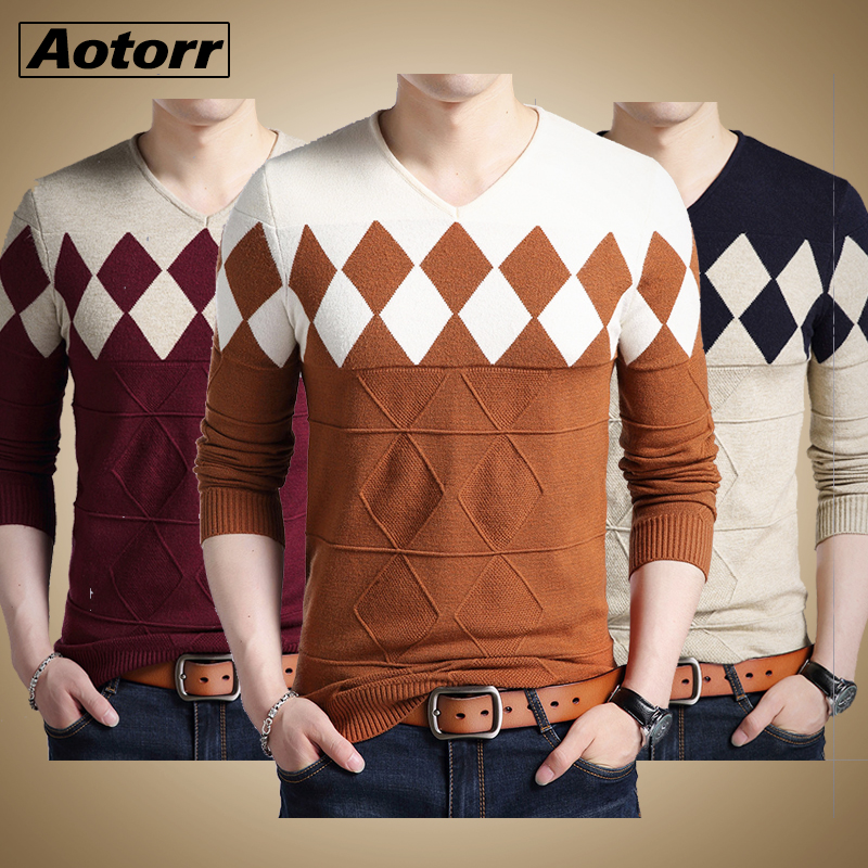 Men Sweater Pullover Winter Fashion Slim-Fit Knitted Long-Sleeve Autumn New O-Neck-Patchwork-Cotton