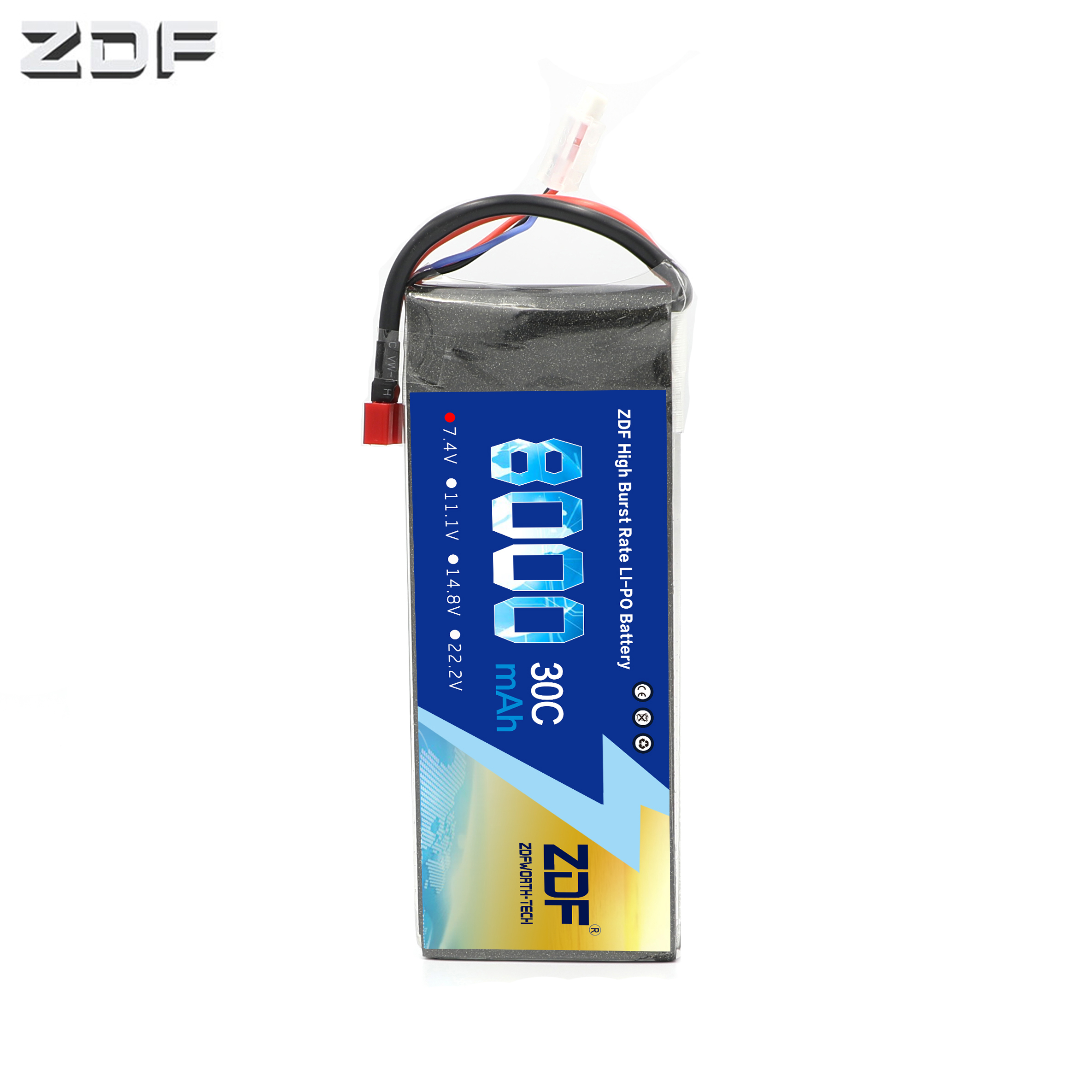 2019 ZDF Good Quality 7.4V 8000mah 30C max60C <font><b>2S</b></font> LiPo <font><b>Battery</b></font> for RC Helicopter Airplane Car Boat Bateria AKKU Drone image