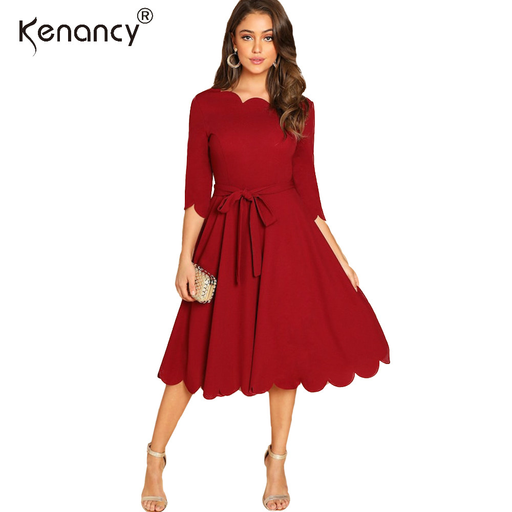 Kenancy Red Wave Cut Plus Size Dress Women Autumn Winter Casual Lace Up Midi Dresses Office Ladies Robe Vestido 2019