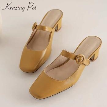 Krazing pot genuine leather ladies shoes slip on buckle square toe high heels women leisure fashion spring slingback pumps L78