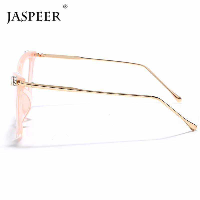 JASPEER עין חתול משקפיים מסגרות יוקרה יהלומי אופנה ריינסטון Eyewear משקפיים מסגרות נשים גברים מסגרות מסגרות אופטיות