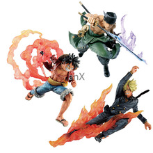 3 Styles Anime One Piece Fugure Luffy Vinsmoke Sanji Roronoa Zoro Model Straw Hat Classic Battle PVC Action Figure Collectible 6pcs set wcf one piece action figures dolls toys sanji vinsmoke family pvc figure doll