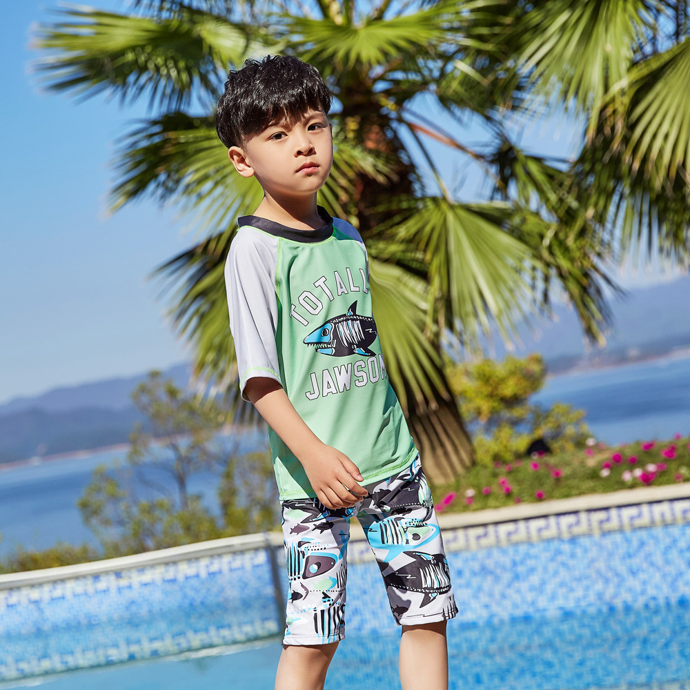 New Style Children Split Type Swimsuit Male Baby Bubble Hot Spring Swimsuit For Boys Handsome Cute Sports Olive Flower 1047