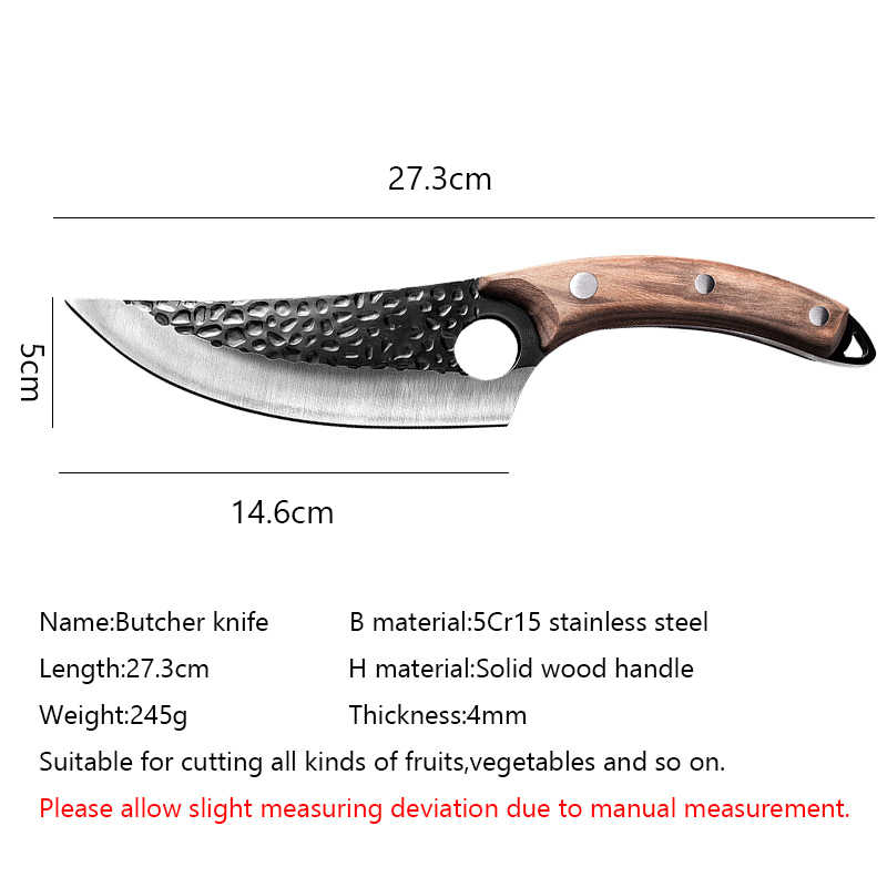 Liang Da Forged Butcher Knife 5.5'' High Clad Steel Boning Hunting Camping  Tool Leather Cover Handmade Chef Knife Serbian Style|Kitchen Knives| -  AliExpress