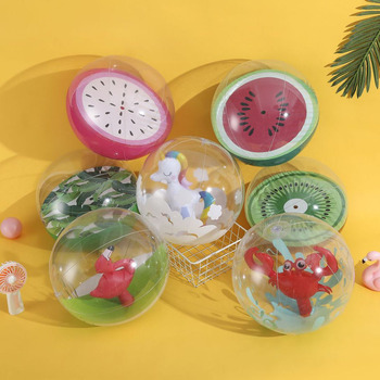 цена на Inflatable 3D beach ball Flamingo Unicorn Watermelon water toys balls seaside Water Sport Volleyball Child Swimming Pool Balloon