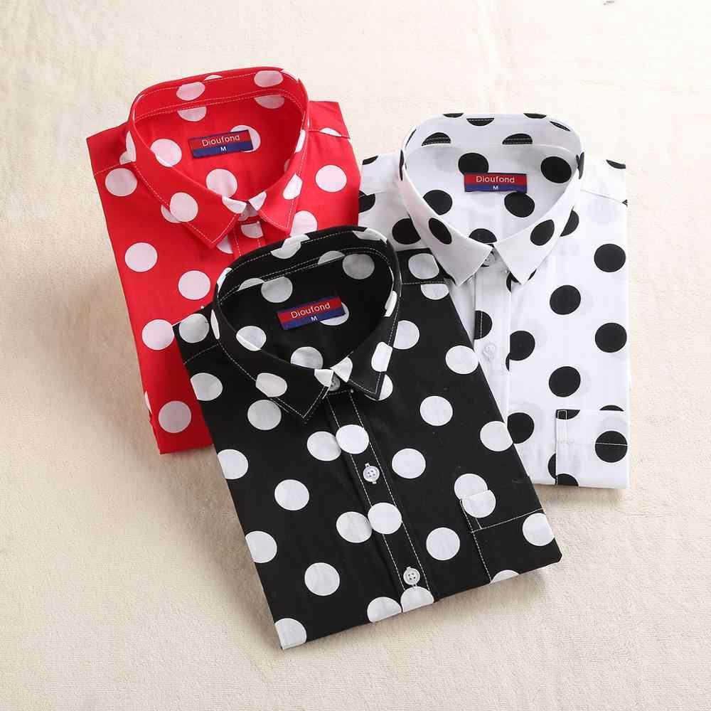 Dioufond женская блузка в горошек с длинным рукавом и карманом, рубашка, Повседневная белая черная Женская Офисная рубашка, новинка 2017, Blusas размера плюс