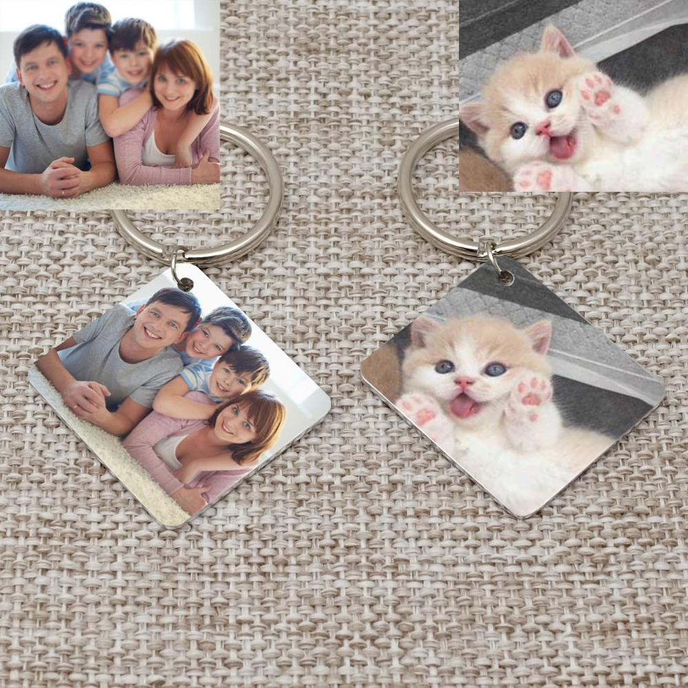 Personalized Keychain Family Picture Keyring Custom Photo Key Chain Memorial Gift For Pet Lover Father's Day Gifts