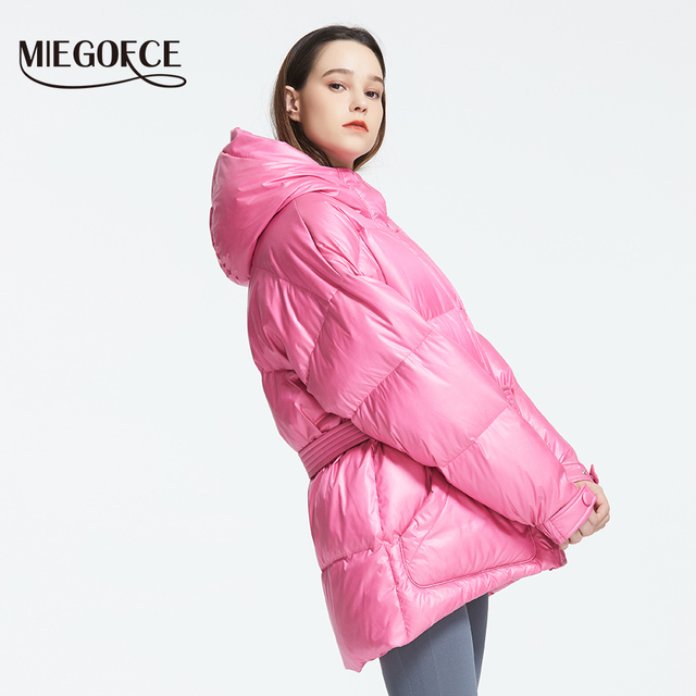 MIEGOFCE 2019 New Winter Women's Jacket High Quality Bright Colors Insulated Puffy Coat collar hooded Parka Loose Cut With Belt 1