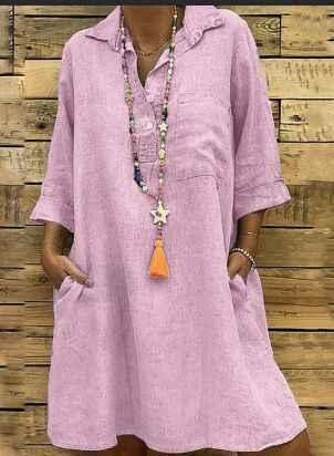 5XL mode femmes vêtements grande taille été automne col rabattu poche robe Sexy bouton lâche grande taille chemise robe