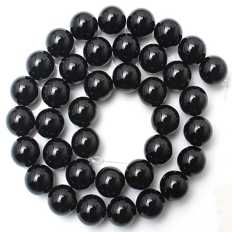 Kamień naturalny czarny agaty hematyt lawa koraliki z obsydianu okrągły luźny koralik do tworzenia biżuterii Diy bransoletka akcesoria 4/6/8/10/12mm