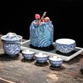 Серебро 999 пробы  быстрая Гостевая чашка  один горшок  три чашки  Офисная керамика  Цзиндэчжэнь  японский стиль  простой портативный чайный н...