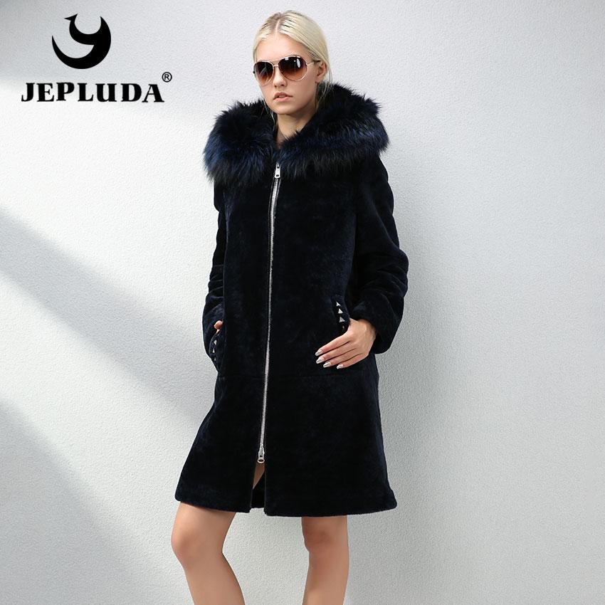 JEPLUDA Casual Loose Real Fur Coat Women Plus Size Hooded Fox Fur Natural Sheep Fur Winter Coat Women Thick Warm Real Fur Jacket|Real Fur| - AliExpress