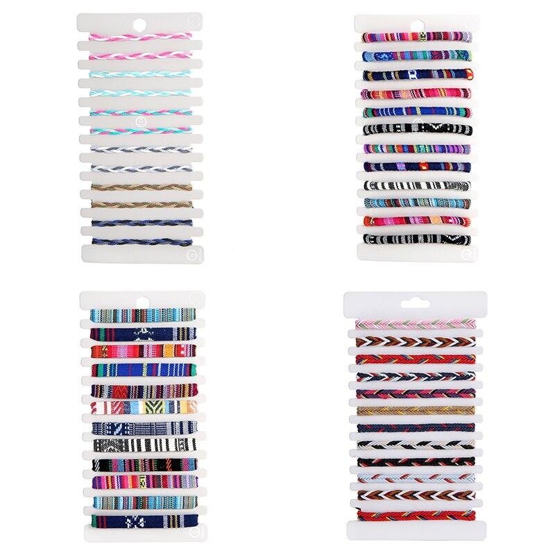12 pçs/set cor misturada colorido pano artesanal trançado pulseiras para mulheres ajustável corda pulseira conjunto amizade jóias presentes