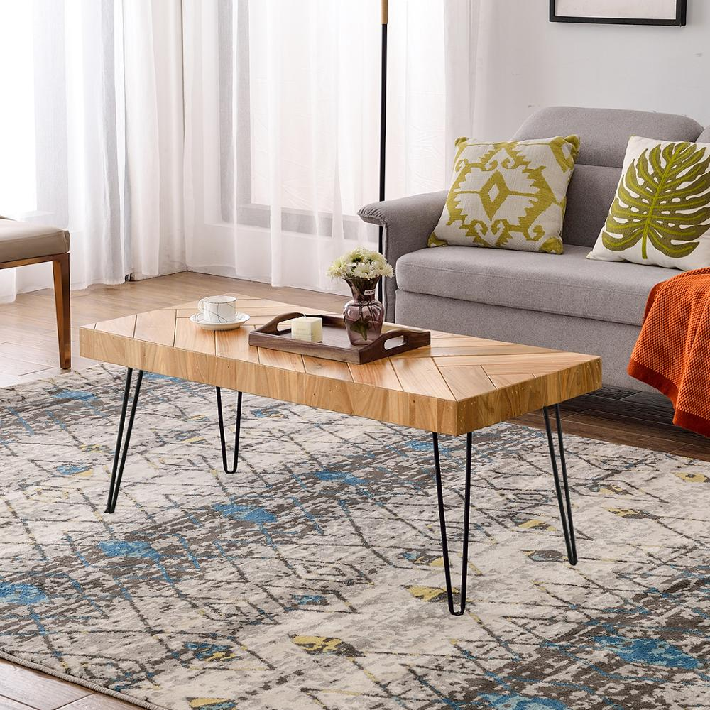 Modern Coffee Table Easy Assembly Tea Table Cocktail Table Living Room w/Chevron Pattern Metal Hairpin Legs Glossy Finished Wood