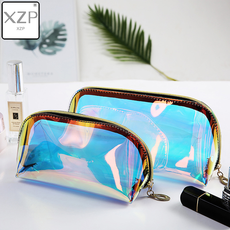 XZP Semicircle Shape Cosmetic Bag For Women Colorful Laser Makeup Pouches Zipper Travel Organizer Toiletry Wash Beauty Storage