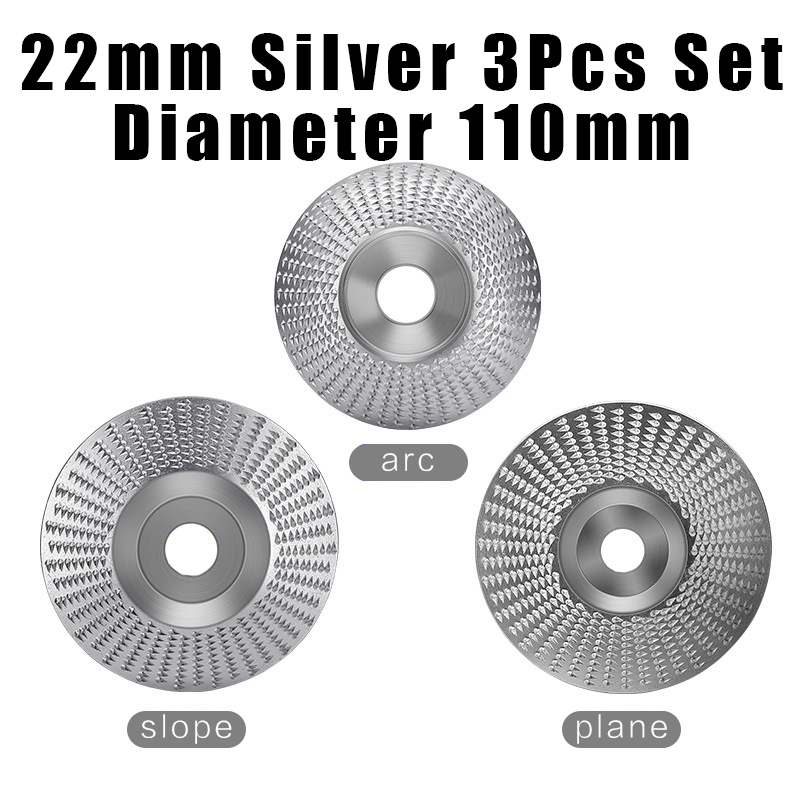 3pcs Set 22mm Bore Wood Grinding Polishing Wheel Rotary Disc Sanding Wood Carving Tool Abrasive Disc Tool for Angle Grinder 125