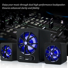 Colorful LED Home Desktop Multifunctional Speaker Set USB Wired Plastic Subwoofer Bass Music Player Stereo Computer Laptop