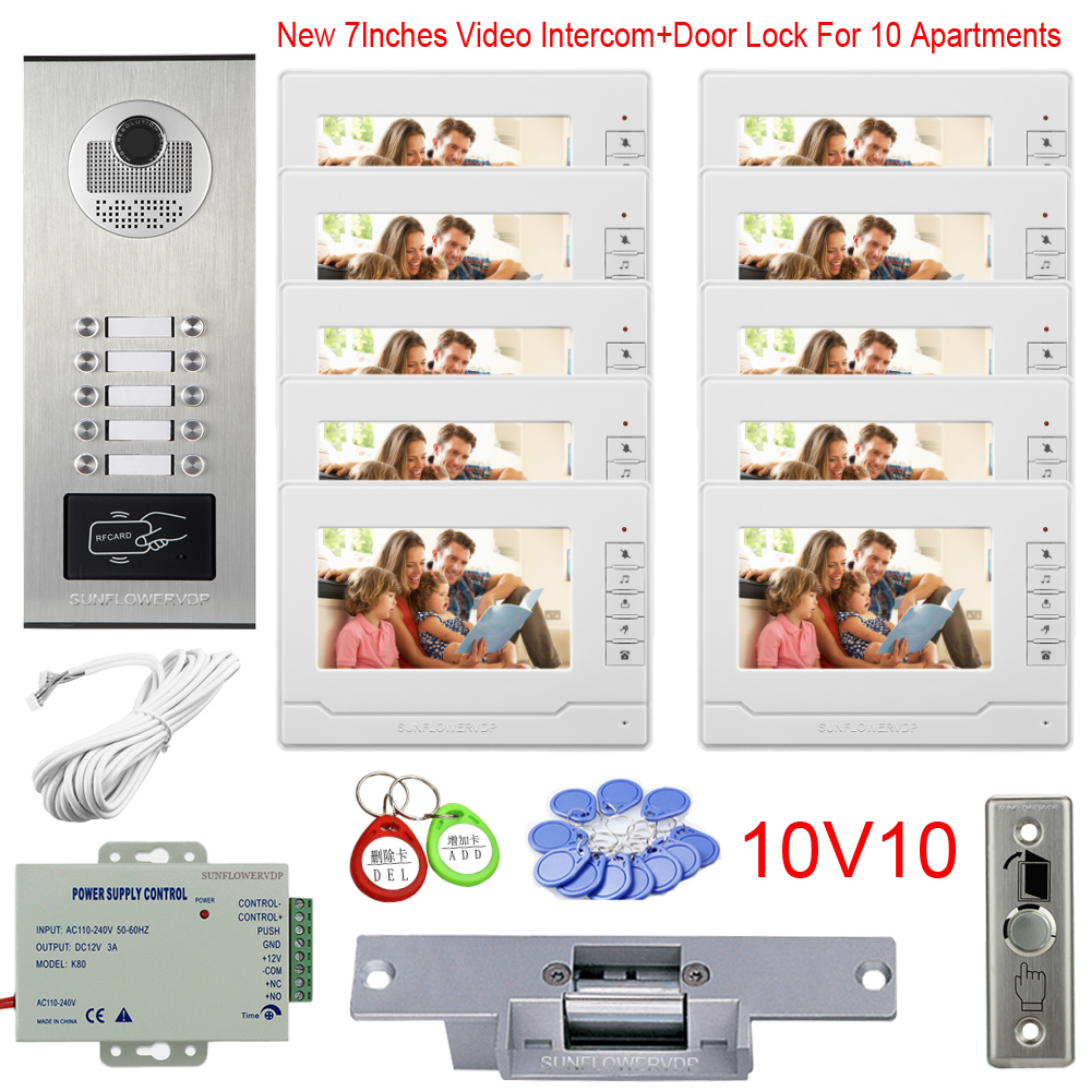 Multi Apartments Video Entryphone Rfid Video Intercom 8/10/12 Buttons Video Door Phone 7Inches New Monitor + Electric Door Lock