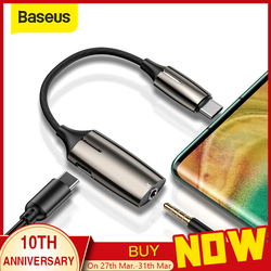 Baseus L60 USB C ~ 3.5mm aux 오디오 어댑터 usb 유형 c 연장 케이블 (라이트 인터페이스 포함) 1 ~ 2 스마트 폰용