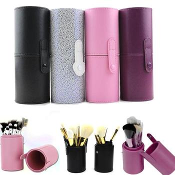 1 ud. Estuche de cuero para cosméticos organizador bolsa de maquillaje brocha de tubo sostenedor de la taza cepillos contenedor de bolígrafos herramienta cosmética