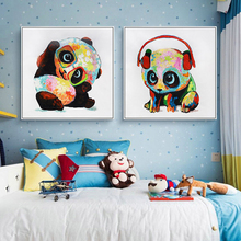 100% Hand Painted Cartoon Baby Panda Art Painting On Canvas Wall Adornment Pictures For Live Room Home Decor