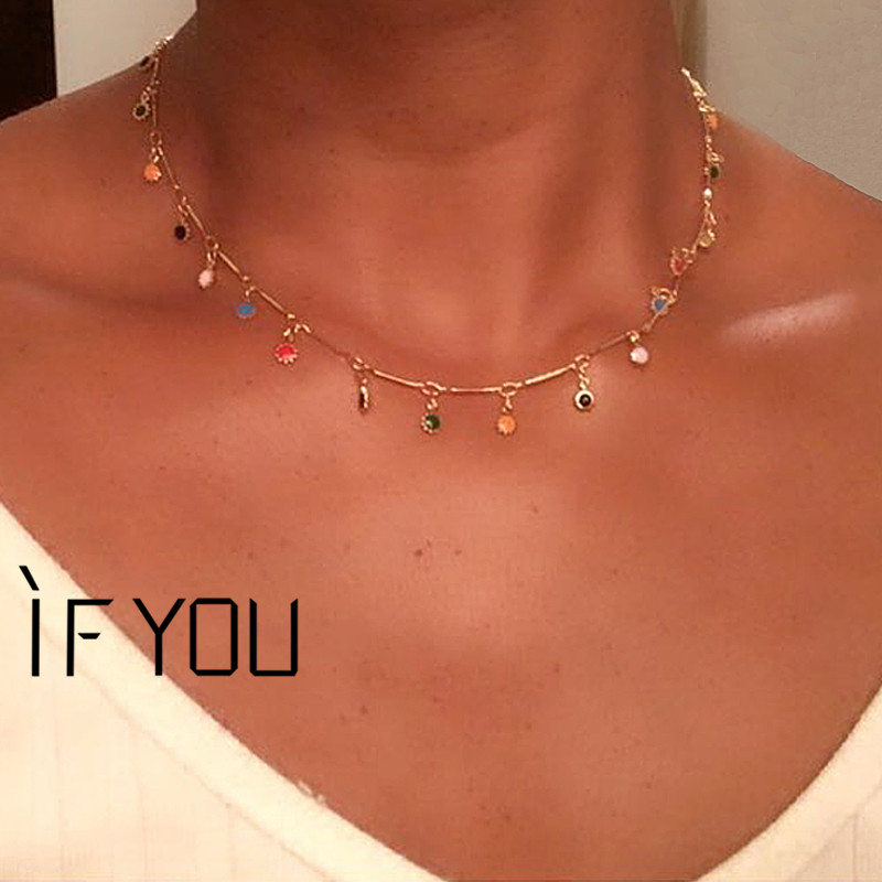 IF YOU Bohemian Stone Choker Necklace For Women BOHO Gold Color Pendants Necklaces Beads Handmade Jewelry Drop Shipping