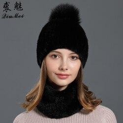 Women Fur Set Hat and Scarf Real Mink Fur One Size Elastic Beanie Female Girlfriend Gift Knitted Genuine Mink Fur Headband Hats