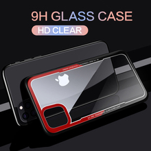 Роскошный прозрачный стеклянный чехол для iPhone11 Pro Max, силиконовый бампер для iPhone XS MAX XR X 7 Plus 8 7plus 8plus 6 6S
