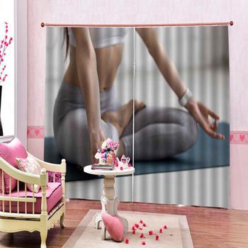 Cortinas 3d personalizadas para sala de estar Yoga fitness 3d cortinas estereoscópicas Blackout dormitorio baño ducha cortina