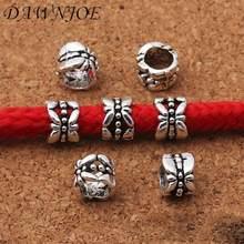 20 piezas 8mm Vintage gran agujero 5mm agujero Hollwo flor espaciador casquillo de cuentas DIY hacer pulsera collar accesorios de joyería encontrar