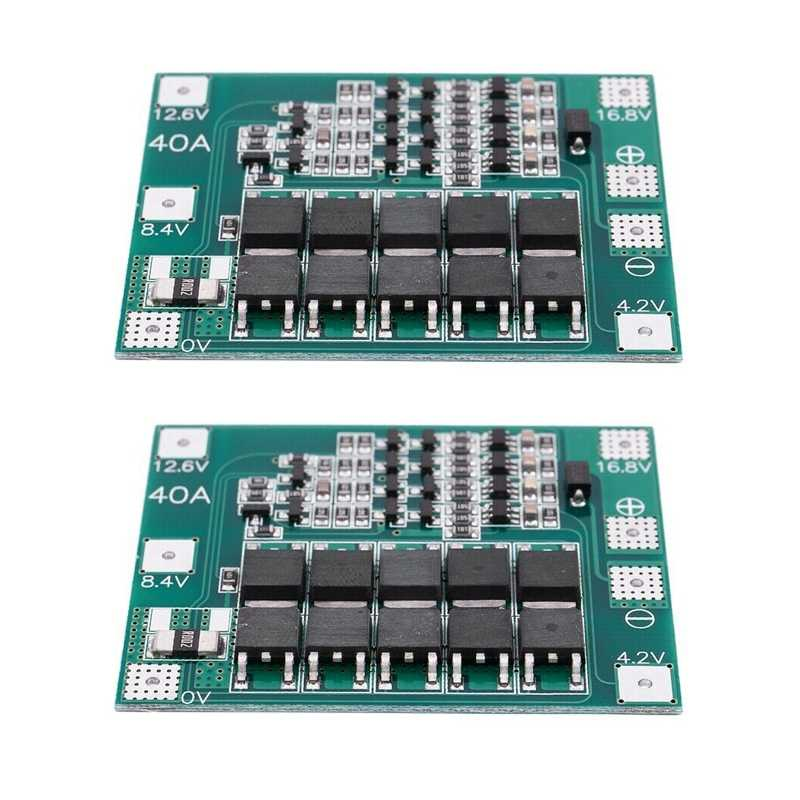 2PCS 4S 16.8V 18650 Lithium Battery Charger Protection Board PCB BMS 40A Module