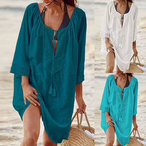 Vertvie Women Casual Loose Chiffon Beach Wear Summer Swimsuit Cover Up Swimwear Bathing Suits Mini Dress Solid Beach Shirts 2020