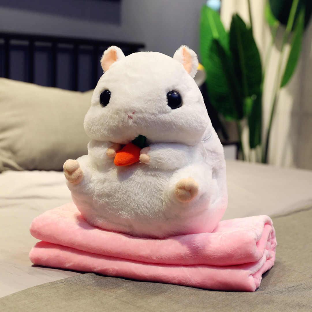 Brinquedos macios do luxuoso do hamster com cobertor macio da flanela enchido mão mais quente bonito do rato enchido brinquedos das crianças namorada presente de natal